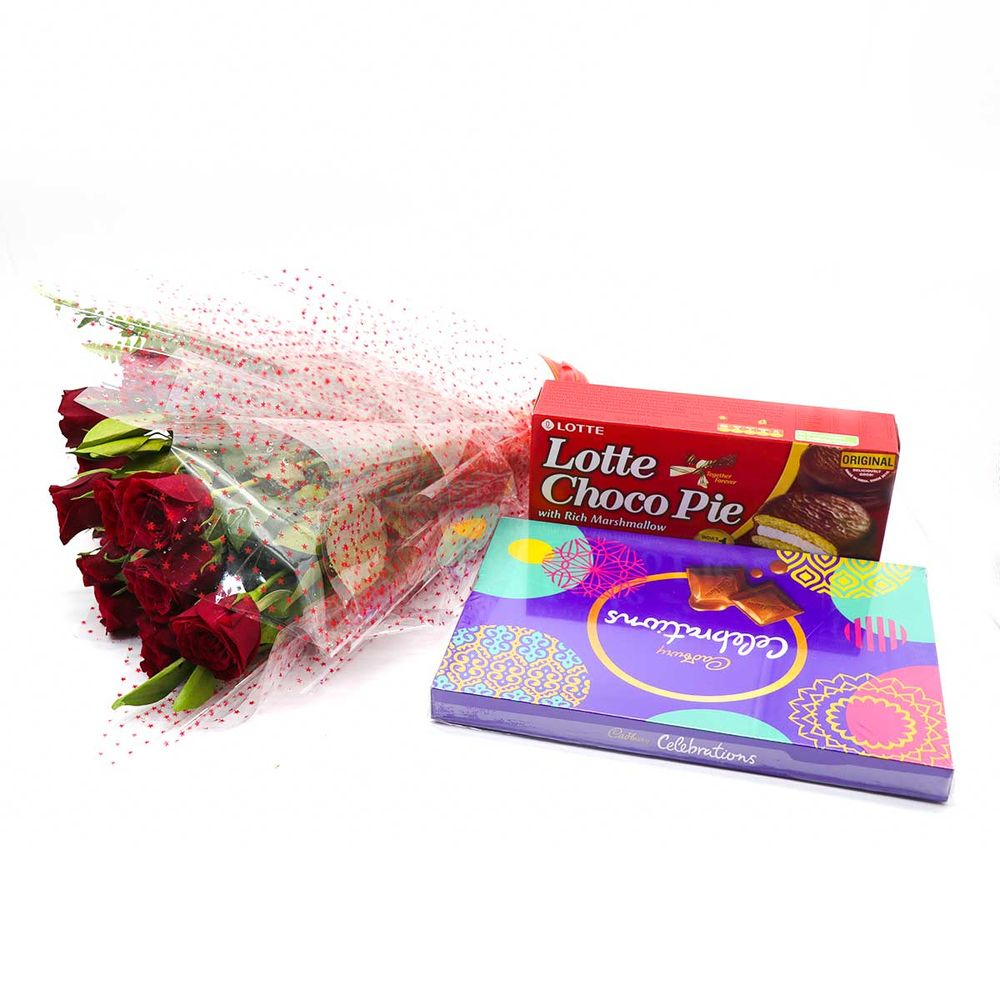 Bunch of Red rose with Cadbury Celebrations and Choco pie