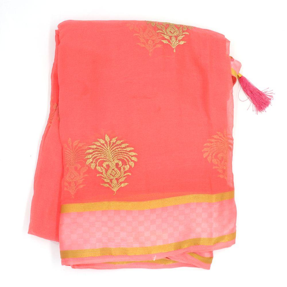 Embellished Art Banarasi Peach Sari
